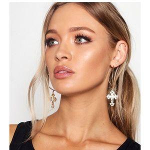 Boohoo gold hoop cross earrings
